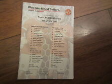 2014-15 PREMIERSHIP MANCHESTER UNITED v SWANSEA CITY  OFFICIAL COLOUR TEAM SHEET