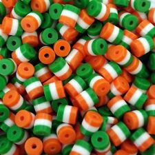 50 x ACRYLIC Tube BEADS CYLINDER IRISH STRIPE  9mm x 8mm JEWLLERY MAKING A30