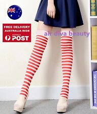 Women Girl Red White Stripe Knee High Costume Halloween Christmas Socks Tights