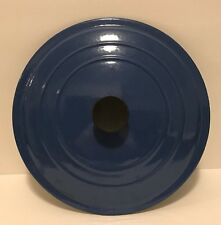 "Le Creuset ""E"" 10"" Round Blue Cast Iron Enameled Lid Only Made In France"