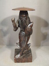 VINTAGE CHINESE CARVED WOOD FISHERMAN STATUE