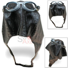Aviator Cap & Goggles Bomber Hat Steampunk Pilot Costume Synthetic Leather