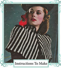 How to make a vintage 1940s chic wartime stripe shoulder cape- knitting pattern