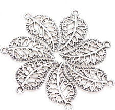25pcs Tibet Silver Leaf Loose Bead Pendant Jewelry Making For Bracelet 19x10mm