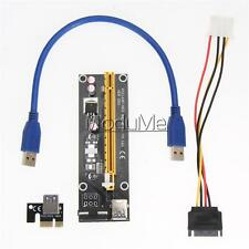 USB 3.0 PCI-E Express 1x To 16x Extender Riser Card Adapter SATA Power Cable MO