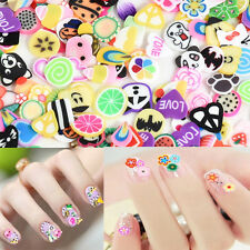 1000pcs Mixed 3D DIY Nail Art Tips Fimo Decoration Flower Fruit Clay Stickers
