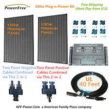 200w 200 Watt 2 100w Solar Panel Plug-n-Power Space Flex Kit for 12v Battery