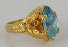 Fine unusual & ornate 24K solid Yellow Gold, large vivid Blue Aquamarine ring
