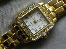 Ladies Luxury Style Quartz Watch & Matching Bracelet GWO Gold Tone Strap New