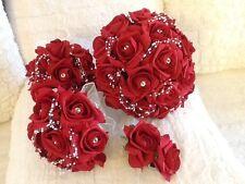 NOZZE Fiori Sposa / Maids rosso scuro / Avorio Schiuma ROSE BRIDAL BOUQUET pacchetto