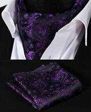 RF303P Purple Black Paisley Silk Cravat Scarves Ascot Tie Hanky Handkerchief Set
