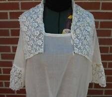 Antique Edwardian Lawn Wedding Dress Schiffli Net Lace Titanic Era White
