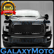 15-17 Ford F150 Direct Replacement Rivet+Black Front Hood Mesh Grille+Shell 2017