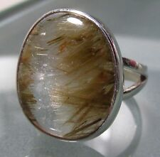 Sterling silver chunky golden RUTILATED QUARTZ ring UK Q½-¾/US 8.5-8.75