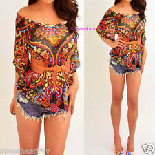 Rue21 Black Red Yellow Blue Colorful Paisley Belted Blouse Sheer Shirt Top XS