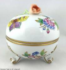 Herend QUEEN VICTORIA Lidded & Footed Bonbon Bowl ~ Rose Finial