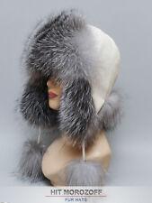 Blue Frost Fox Fur Hat White Aviator Chapka Ushanka Fliegermütze Pelzmütze Ski