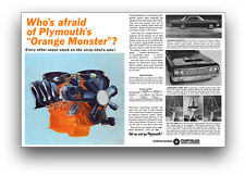 24x36 1964 PLYMOUTH BELVEDERE 426 MAX WEDGE ORANGE MONSTER HEMI MOTOR AD POSTER