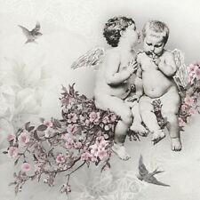 TWO (2) Cherubs,Gray Background, Paper Luncheon Napkins for Paper Crafts