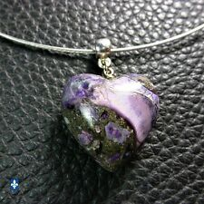 ♥ Pyrite Purple Sea Sediments Heart Silver Plated Pendant Stainless Stl Necklace