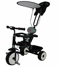FoxHunter Child Kids Trike Tricycle 3 Wheel 4 In 1 Ride Bike Parent Handle Black