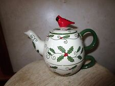 Temp-tations Christmas Holiday Teapot Tea for One Red Bird EUC