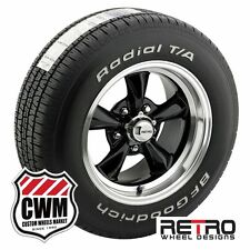 """15 inch 15x7""""/15x8"""" Retro Black Wheels Rims Tires for Ford Mustang 67-73"""