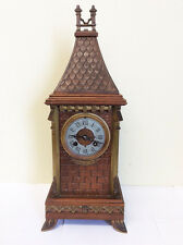 Antique French Gothic Mantel Clock 19th Century Nice European Steeple Design
