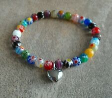 Murano Glass Millefiori Beaded Bracelet Silver Heart Multicolour HANDMADE