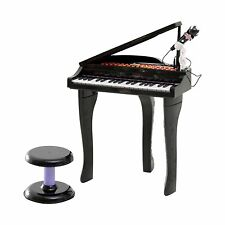 Childrens Black Grand Piano Electronic Keyboard & Stool Microphone Toy 88022A
