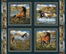 Wild Wings Rhapsody Horses Fabric Panel Set - 100% cotton by Springs Creative