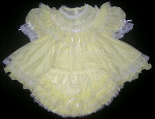 ADULT SISSY FRENCH BABY CHIFFON DRESS ~ L yellow