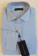 $295 Ralph Lauren Black Label Long SLVS Seersucker Striped Polo Dress Shirt 15.5