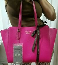 New $1250 GUCCI SWING TOTE shoulder gg pink fuschia pebbled leather AUTHENTIC