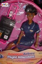 """Flight Attendant Doll AA African American Airlines 11"""" w/ Backpack RETIRED"""