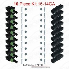Delphi Weather Pack 1 Pin Sealed Connector Kit 16-14 GA !!!10 COMPLETE KITS!!