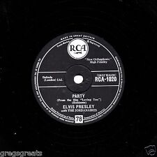 "CLASSIC 1957 UK #2  ELVIS PRESLEY 78 ""PARTY / GOT LOT LIVIN' TO DO""  RCA 1020 EX"