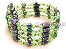 SALE Green 6mm round Cloisonne Hematite Magnetic Bead necklace / Bracelet-b282