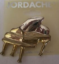 JORDACHE Baby Grand Piano Pin Brooch Gold Tone Music Symphony Orchestra Band