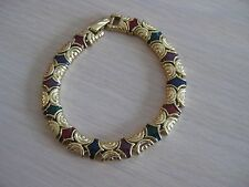 Estate Costume Joan Rivers Green and Red Enamel Link Bracelet 8 inches Gold Tone