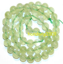 "Natural 8mm Green Prehnite  Polished Round Gemstone Beads 15""L"