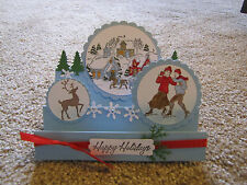 Winter Village Scene Happy Holiday Christmas Handmade step Card Kit 4 stampin up