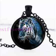 New White Tiger Cabochon Glass Black necklace for women men Jewelry#CI3