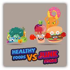 """Healthy Food Vs Junk Food Car Bumper Sticker Decal 5"""" x 5"""""""