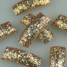 55pcs Super GLITTER Slice Dark Gold Fashion Design False French Acrylic Nail Tip