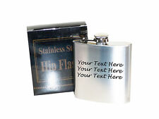 Your own text  6 oz Stainless Steel Hip Flask - Laser Engraved