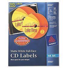 Avery Inkjet Full-Face CD Labels Matte White 40/Pack 8960