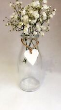 5 X Milk Bottle Vintage Vases Glass Jars Wedding Centrepiece Rustic Twine Heart