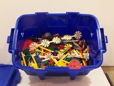 Mixed lot of K'nex parts wheels pieces over 4 lbs with storage blue tub