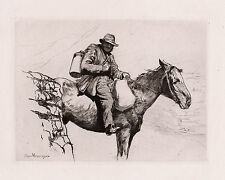 "Original 1800s Hubert HERKOMER Etching ""The Old Pony Express Rider"" SIGNED COA"